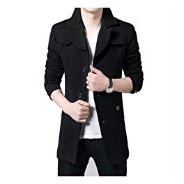 DeLamode Men's Long Style Button Autumn Winter Woolen Jacket Business OverCoat Review