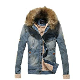 Tengfu Winter Mens Fur Collar Slim Denim Jacket Review