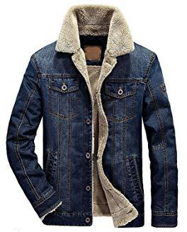 Wintie Men's Classic Fit Blue Faux Shearling Collar Slim Denim Jackets
